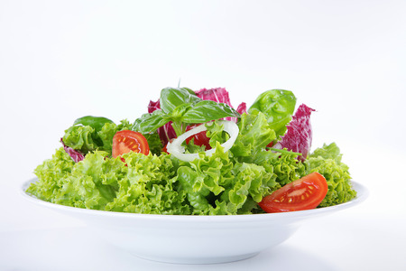 diat product: salad served with onions and tomatoes Stock Photo