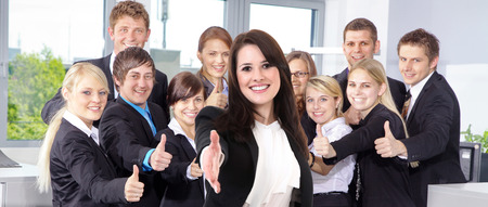 welcome business people with thump up Stock Photo