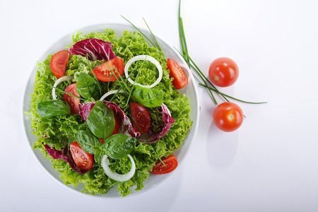 salad served with onions and tomatoes Stock Photo
