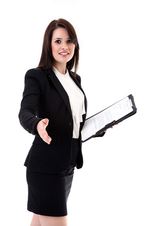 business woman with notepad and shake hands photo