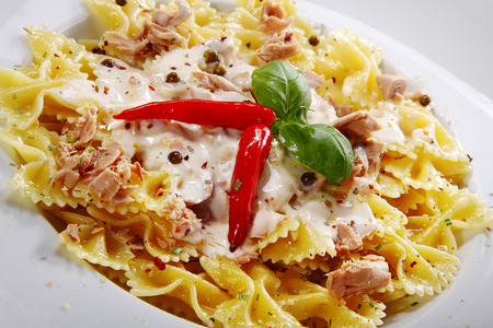 menue: pasta menue with red Peperonis