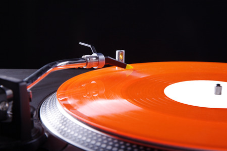 record player with colored vinyl record