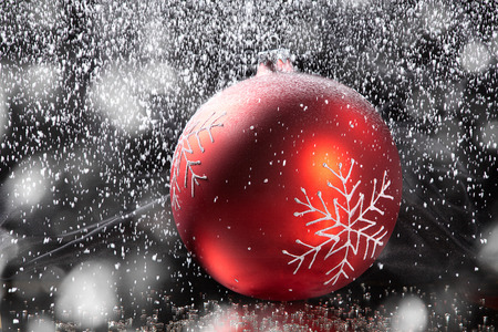 christmas balls with beautiful snow decoration photo