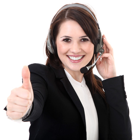 thumps up: business woman with headset and thumps up
