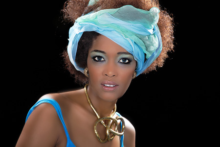 beautiful model with turquoise colors photo