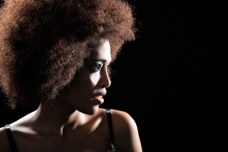 salon background: beautiful dark woman with afro look
