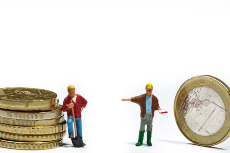 construction sites miniatures with money