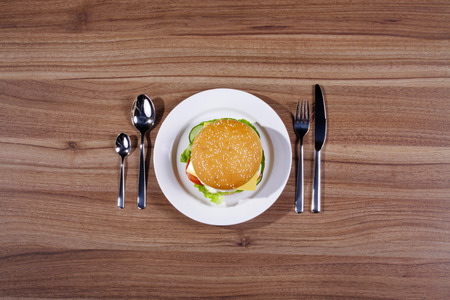 hamburger verviert at the table with cutlery Stock Photo