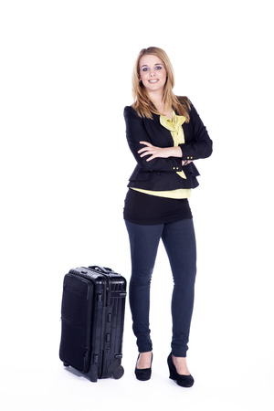 busines woman traveling and smile photo