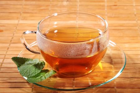subsoil: tea decorated on brown subsoil Stock Photo