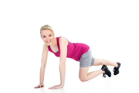 young model with gymnastic exercises photo