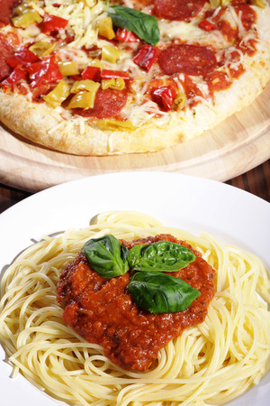 diat product: pizza and spaghetti presents close