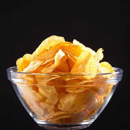 chips in a glass bowl