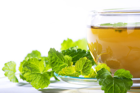 tea with mint on light  Stock Photo