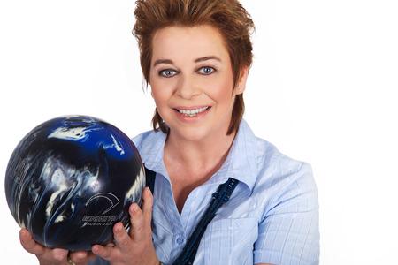 mature woman with blue billiard ball