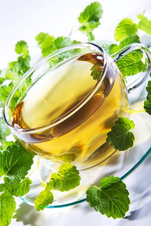diat product: tea with mint on light underground