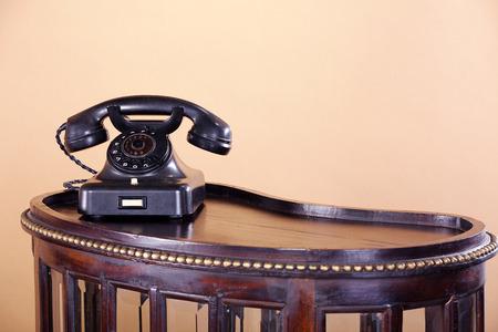 antique telephone: beautiful old black antique telephone Stock Photo
