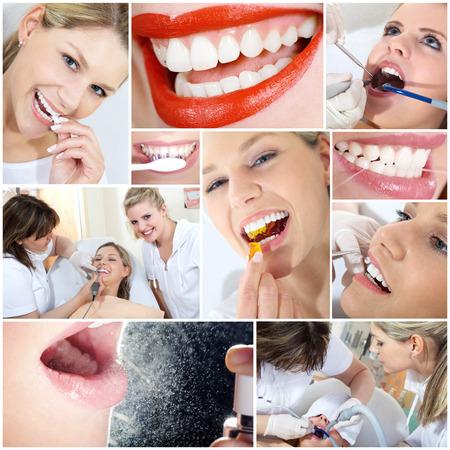 odontologia: Dentista y Odontolog�a Cosm�tica Collage Foto de archivo