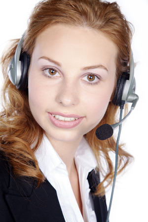 call center woman posing in the studio photo