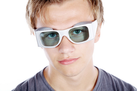 model man looks with laser safety goggles photo