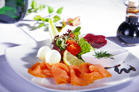 diat product: salmon menu served on dish