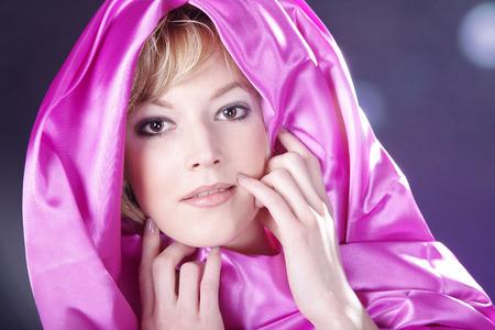 woman in pink with great makeup closeup Standard-Bild