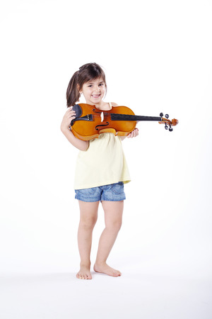 musik: young girl plays on the violin Stock Photo