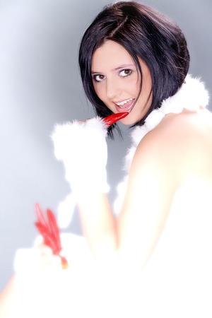 beautiful woman with dark hair and peperonie