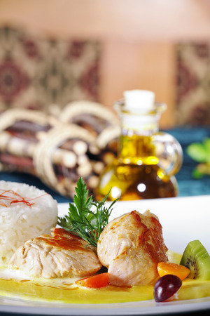 diat product: chicken steak with garnish on dish Stock Photo