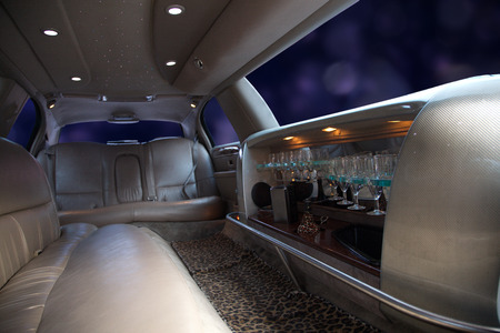limo: strech limousine with Interior furnishing Stock Photo