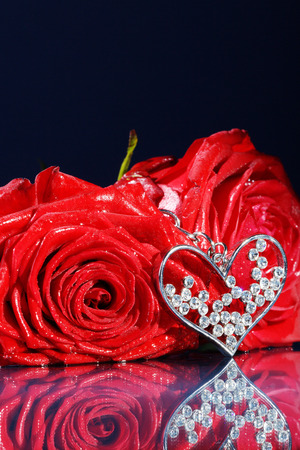 margerite: red rose decorated with jewelry on dark underground