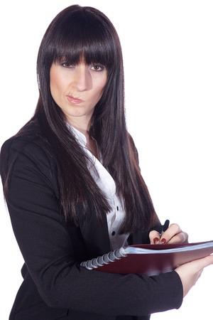 business skeptical: Mujer de negocios esc�ptico hace notas