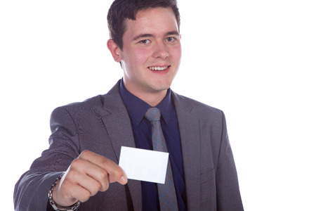 business man showing business card photo