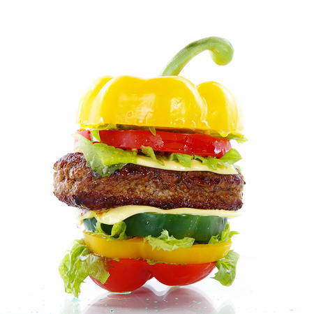gastro: vegetable burger with individual layers visible