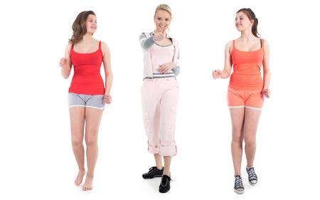 beautiful female fitness model goes jogging