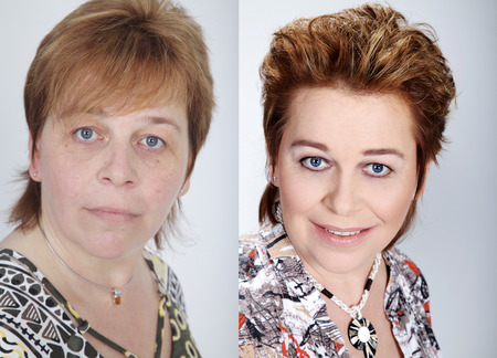 mature woman before after collage Standard-Bild