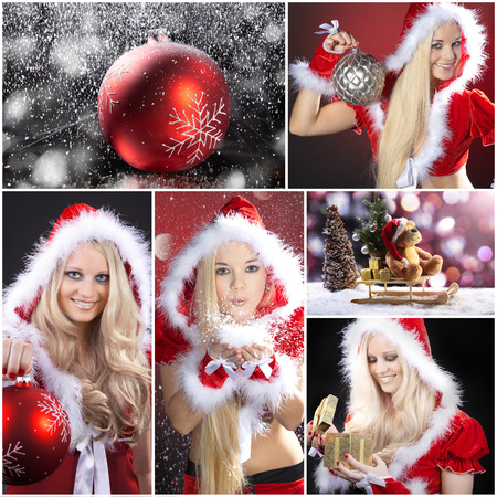 young woman with Christmas hat and xmas ball collage