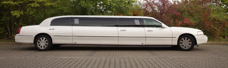 strech limousine in white outdoors