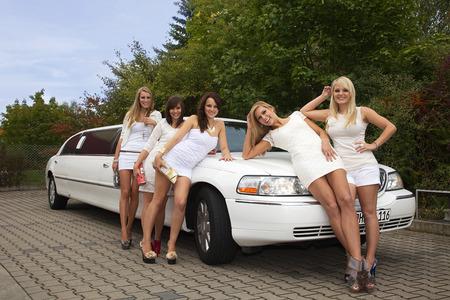 nice pretty women with white  limosiene