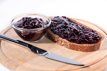 diat product: marmalades bread on a wooden board
