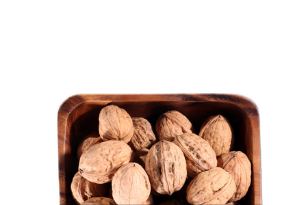 diat product: many walnuts in a brown bowlwalnut Stock Photo