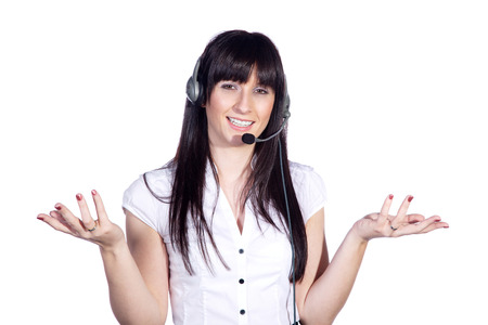 explained: business woman explained with heatset Stock Photo