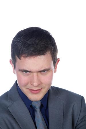 skeptical: businessman looks skeptical