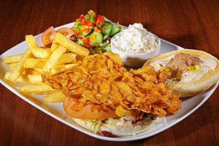crispy: crispy chicken burger on white plate
