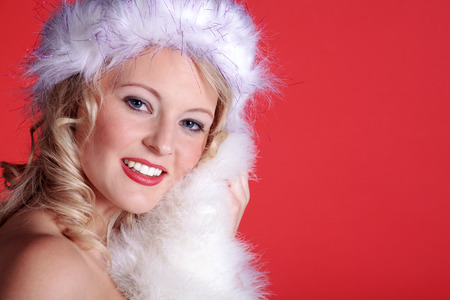 beautiful woman with santa hat close up