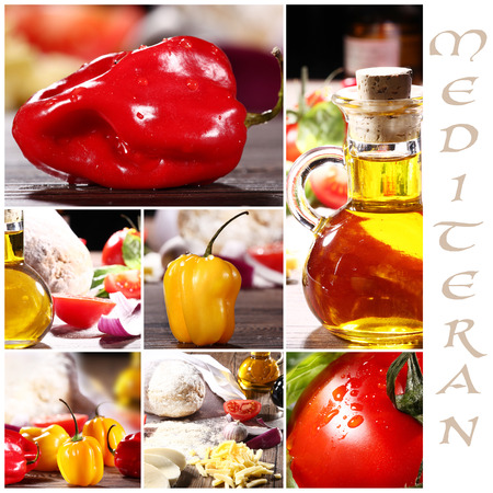 diat product: mediteran collage with different topics Stock Photo
