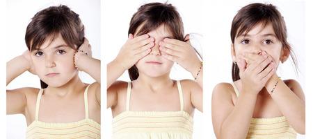 junges Mädchen hält die Ohren Augen und Mund zu Collage
