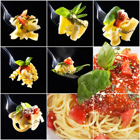 gastro: pasta collage many different pasta on fork