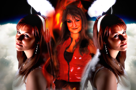 beautiful woman is angel and devil collage