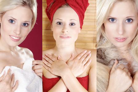 collage with beautiful blond woman wellness Standard-Bild